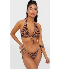 south beach leopard print ruched string brief trosa