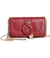 women's see by chloe hana large leather wallet on a chain - red