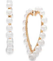 thalia sodi gold-tone imitation pearl heart hoop earrings, created for macy's