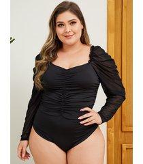 yoins plus talla black body plisado de manga larga