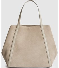 reiss norton - suede slouch tote in taupe, womens
