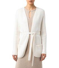 women's akris belted stretch wool cardigan, size 10 - ivory