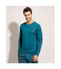 camiseta esportiva ace manga longa gola careca com proteção uv50+ verde