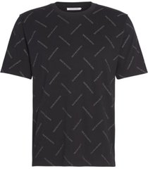 camiseta de algodón orgánico con logo en toda la prenda negro calvin klein