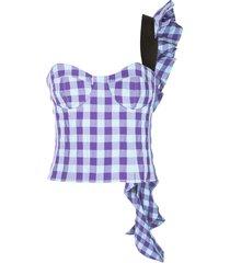 frilled shoulder corset top