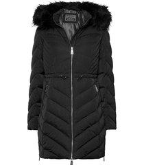 cheryl down jacket gevoerde lange jas zwart guess jeans