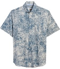 joseph abboud blue and gray floral sport shirt