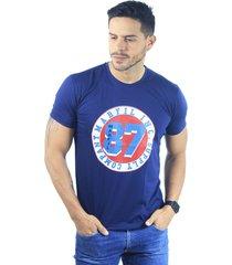 camiseta hombre manga corta slim fit azul marfil supply