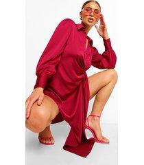 gedrappeerde satijnen blouse jurk, mulberry