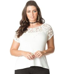 blusa plus size off white manga decote rendado