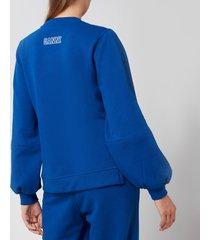 ganni women's puff sleeve sweatshirt - daphine - l