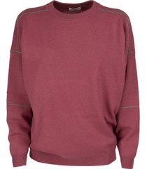 brunello cucinelli virgin wool, cashmere and silk sweater with shiny stitching