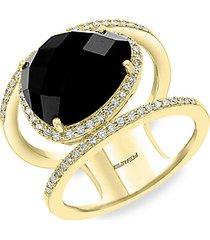 14k yellow gold, black onyx & diamond cutout ring