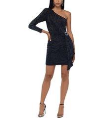 xscape one-shoulder embellished chiffon dress