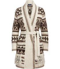 fringe-trim shawl cardigan