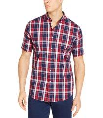 club room men's plaid short sleeve shirt, created for macy's