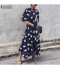 zanzea vestido corto de playa de vacaciones con cuello en v de manga corta para mujer vestidos largos de kaftan -azul marino
