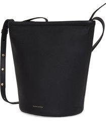 mansur gavriel leather zip bucket bag - black