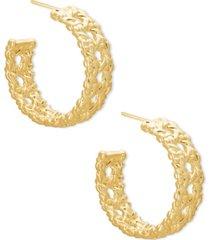 """kendra scott gold-tone natalie openwork medium hoop earrings, 1"""""""