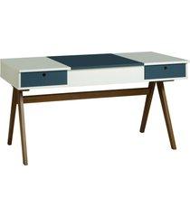 mesa escrivaninha delacroix 430 nogal/branco/azul noite - maxima