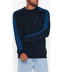 adidas originals 3-stripes crew tröjor navy
