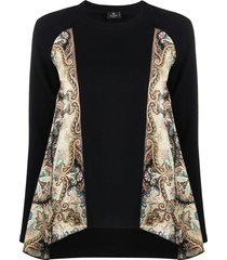 etro scarf-panelled jumper - black
