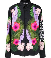 versace jeans couture tropical-print relaxed-fit shirt - black