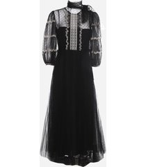 red valentino point desprit tulle dress with embroidery