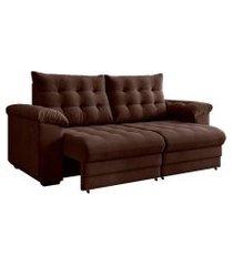 sofá 3 lugares retrátil e reclinável europa suede marrom