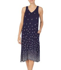 sleeveless floral-print nightgown