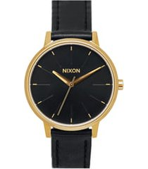 nixon 'the kensington' leather strap watch, 37mm in black/gold at nordstrom