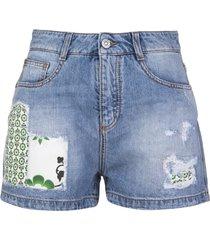 ermanno scervino denim shorts with patchwork