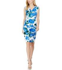 calvin klein petite floral-print v-neck sheath dress