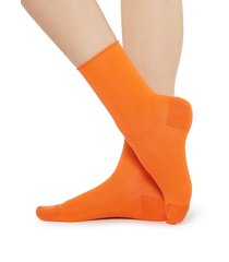 calzedonia - short cotton socks with comfort cut cuffs, 36-38, orange, women
