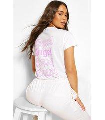 angel t-shirt met tekst op de rug, wit