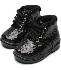bota coturno tricae infantil glitter preta - preto - menina - dafiti