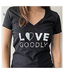 love goodly logo v-neck tee in black (usa)