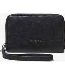 floral coin wallet zipper - black - u