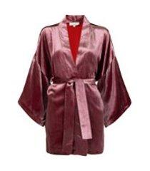 fleur du mal kimono haori de veludo com cinto - vermelho