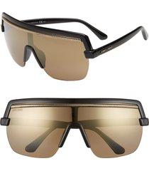 women's jimmy choo pose 133mm shield sunglasses - black
