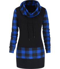plus size plaid panel heaps collar tee