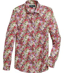 paisley & gray men's slim fit sport shirt pink roses - size: large