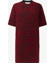 proenza schouler white label animal jacquard knit dress burgundy/black/red l