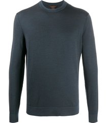 ermenegildo zegna wool knit sweatshirt - blue