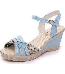 tallas grandes tacones medios sandalias mujeres verano sandalias de punta