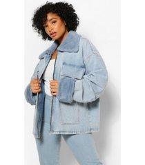 plus fur pocket jean jacket, mid blue
