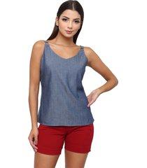 blusa sisal jeans regata blue jeans azul - azul - feminino - liocel - dafiti