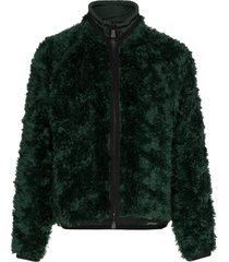 moncler grenoble drawstring neck knitted mohair blend jacket - green