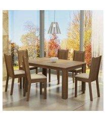 conjunto sala de jantar madesa analu mesa tampo de madeira com 6 cadeiras rustic/pérola