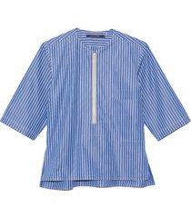 baguette front zip top in blue
